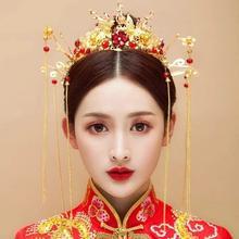 2019新款中式整圈圆皇冠长款流苏复古新娘结婚头饰