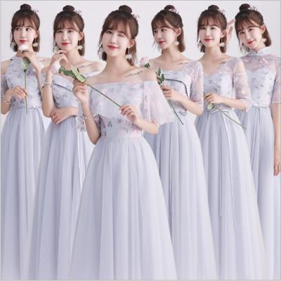 韩版花朵刺绣灰色显瘦绑带伴娘裙