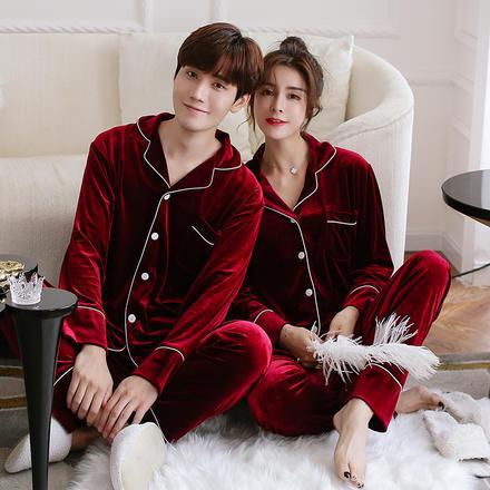 溫暖精致秋冬款金絲絨情侶睡衣舒適居家服