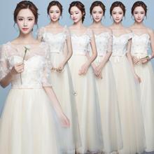 2019新款韩式香槟色花瓣显瘦绑带姐妹伴娘服