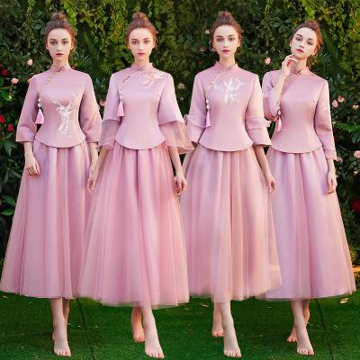 中式粉色长款中国风修身伴娘服