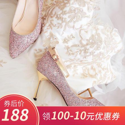 一字带高跟水晶鞋婚鞋