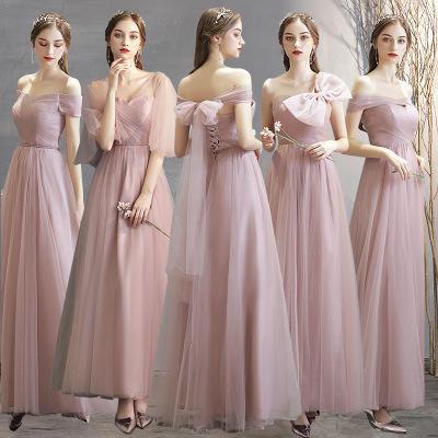韩版粉色甜美仙气质伴娘服