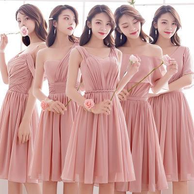 2019新款短款粉色婚礼姐妹闺蜜团伴娘服