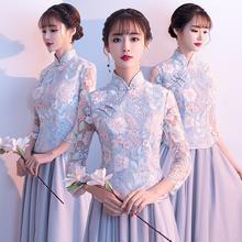 2019新款中式灰色气质显瘦中国风姐妹团伴娘服
