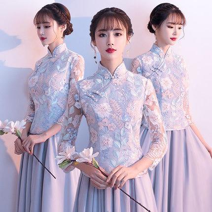 中式灰色气质显瘦精美刺绣姐妹团伴娘服