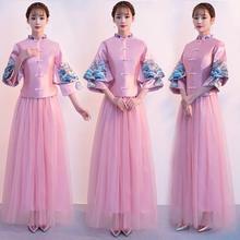 2019新款中式复古立领显瘦姐妹团伴娘服