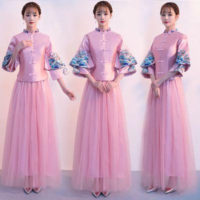 中式立领修身显瘦伴娘服