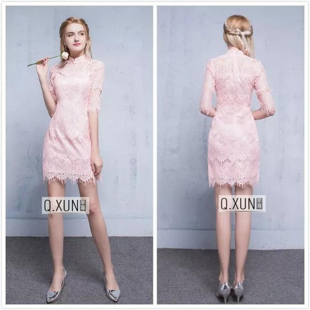 粉色立领旗袍裙