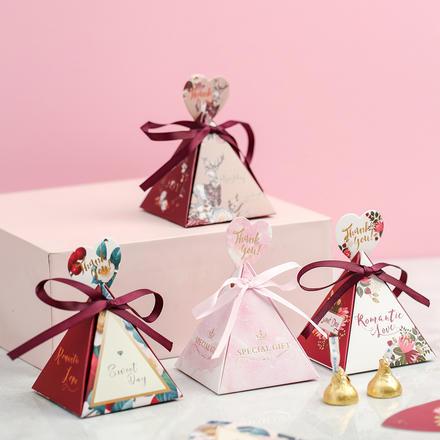 森系浪漫花园三角形喜糖盒