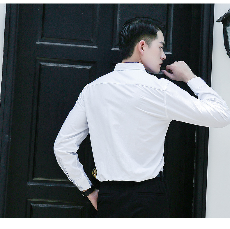 春秋牛津纺长袖棉白衬衫新郎伴郎衬衫