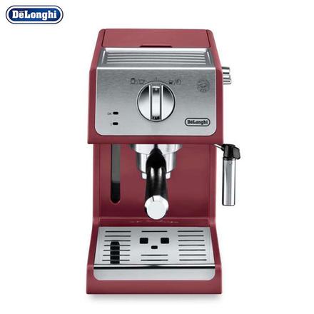 德龙(Delonghi)意式浓缩半自动家用咖啡机 红色