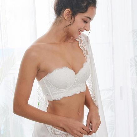 隐形聚拢显V棉杯无钢圈文胸 婚纱礼服调整型內衣胸罩 无肩带文