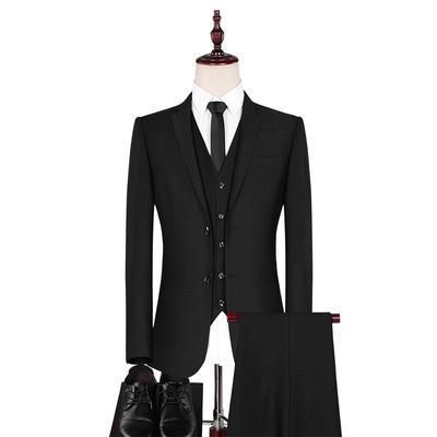 【赠衬衫领结领带】韩版格子春秋冬男士修身婚礼西装三件套