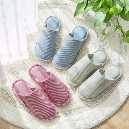 日系和风防滑棉麻条纹情侣拖鞋居家鞋