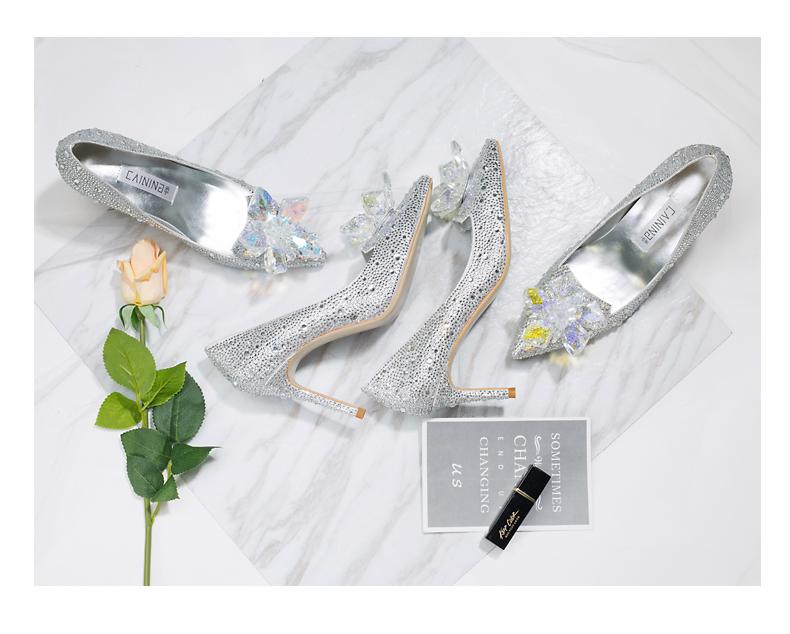 Angelbaby同款 璀璨星空尖头细跟亮钻水晶鞋婚鞋