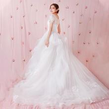 【天鹅的旋舞】法式超仙蕾丝孕妇遮肚短袖婚纱