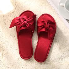蝴蝶结仿真丝露趾绸缎室内防滑地板晨袍拖鞋