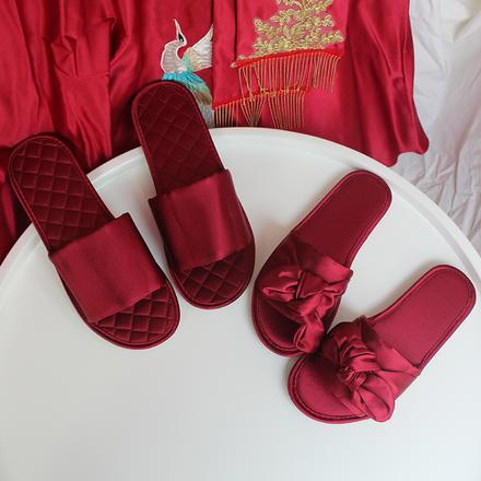 蝴蝶结仿真丝露趾室内防滑地板绸缎拖鞋