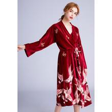 大气优雅女士中厚丝绒仙鹤吊裙睡袍