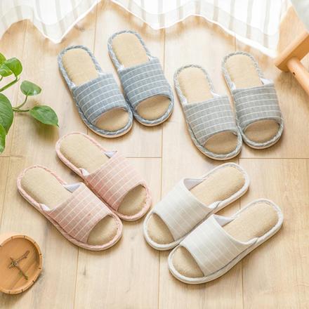 日式亚麻情侣拖鞋