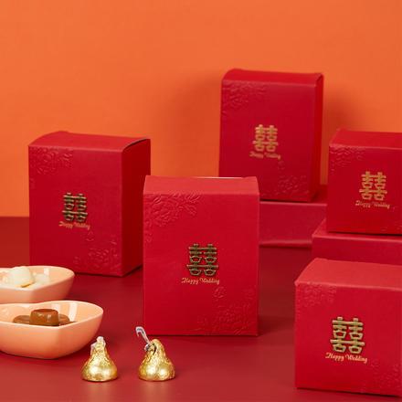 中式复古铜板浮雕牡丹喜糖盒