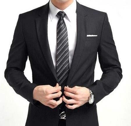 黑色西咋混个+银色条纹领带