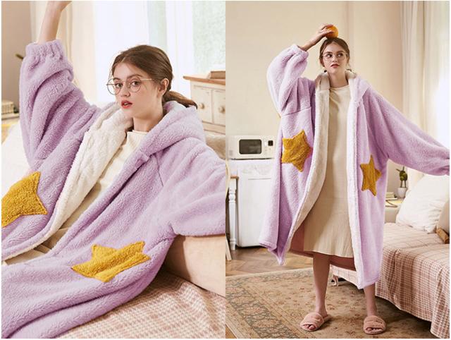 里面搭配睡衣/睡裙的睡袍