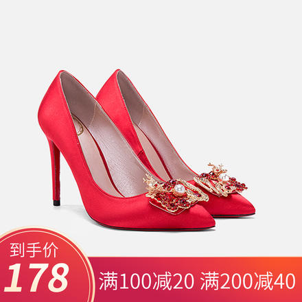 中式龙凤扣水钻尖头婚鞋