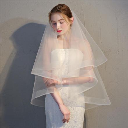 韩式双层遮面带发梳网包边复古头纱