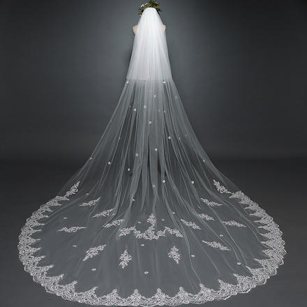 欧美婚纱拖尾白色3米双层带面纱头纱