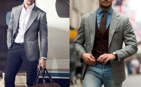 浅灰色西装搭配湖蓝色衬衫