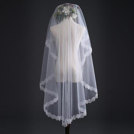 韩式石榴花新娘头纱
