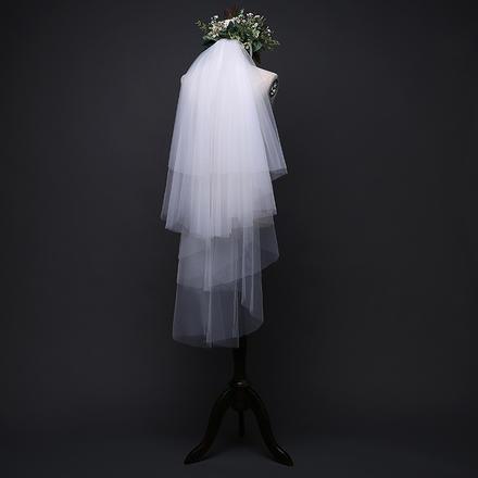 森系纯白四层定型软纱新娘头纱
