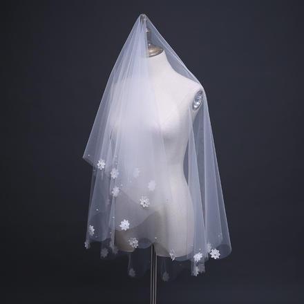 韩式白色花朵甜美短款新娘头纱