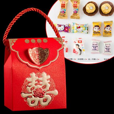 中式手提喜糖盒含糖成品