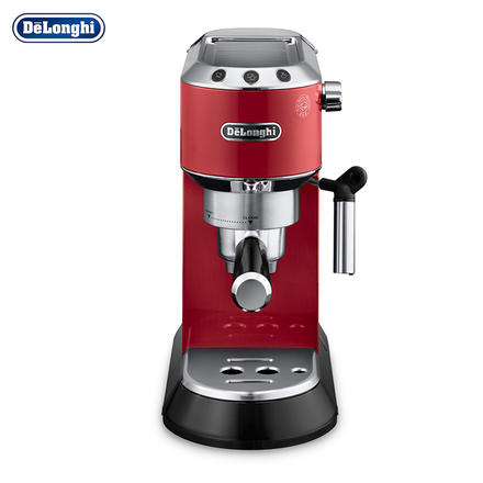 德龙(Delonghi)半自动咖啡机意式浓缩泵压咖啡机 红色