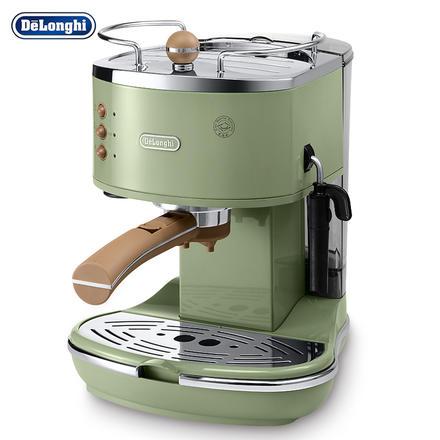德龙(Delonghi)复古泵压式不锈钢意式咖啡机 橄榄绿