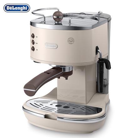 德龙(Delonghi)复古泵压式不锈钢意式咖啡机 奶油白