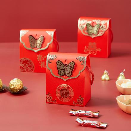 中式蝴蝶镂空喜糖盒