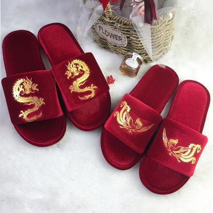 結婚防滑ins金絲絨紅色中式龍鳳情侶拖鞋