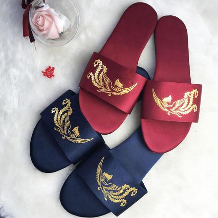 室内防滑ins绸缎中式龙凤新娘伴娘拖鞋