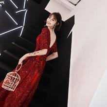 2019新款新娘结婚红色洋装显瘦长款敬酒服