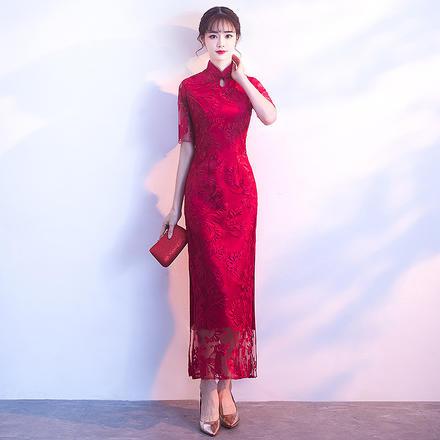 中国风红色修身气质旗袍新娘敬酒服