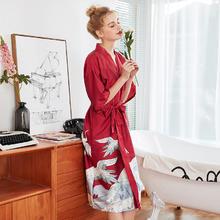 中国风典雅手绘仙鹤长款晨袍