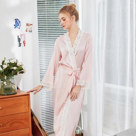 甜美公主冰丝绸精致蕾丝长款晨袍睡衣