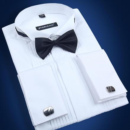 男士长袖燕子领法式袖扣高档棉质衬衫