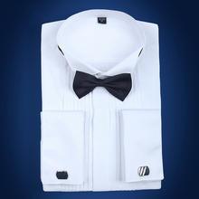 新款男士长袖燕子领法式袖扣高档棉质衬衫