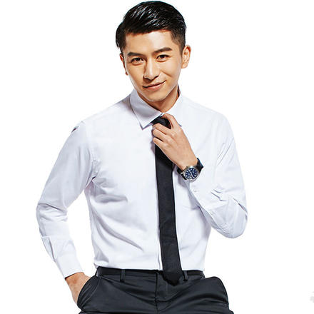 男士长袖修身商务衬衫纯色衬衫
