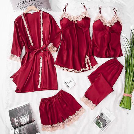【5件套】清新優雅四季可穿冰絲睡袍套裝居家服